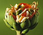 Seafood Salad Served in an Artichoke