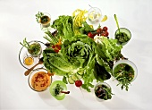Fresh Vegetables Surrounded By Various Dressings