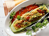 Stuffed cucumber with paprika sauce
