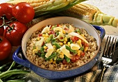 Rice with bean, sweetcorn and tomatoes in pot
