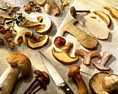 Fresh mushrooms, sliced ready for further treatment