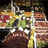 Fruit in crates on a market stall