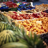 Fresh fruit, including apricots, at the market