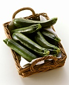 Several Zucchini in a Basket