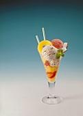 Fruit sundae with stracciatella & raspberry ice cream