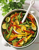 Courgette and pepper casserole in a dish
