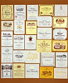 Wine labels of various Bordeaux wines