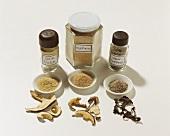 Dried mushrooms & three different powdered mushrooms