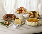 Cake buffet with marble cake and appetising gateaux