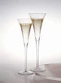 Two filled champagne flutes