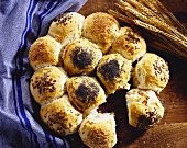 Bread roll sun with various rolls baked together