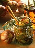Cucumber relish in preserving jar