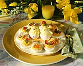 Easter platter with filled egg halves