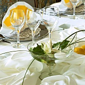 Glass bowl with white flower on laid table (close-up)