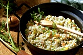 Orzo al prosecco (Barley stew with Prosecco & vegetables, Italy)