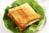 Croque Monsieur (ham and cheese on toast) on lettuce leaf
