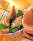 Salmon mousse with toast triangles & herbs in bowl