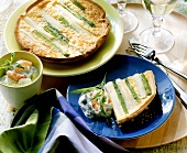 Asparagus quiche with puff pastry, with shrimp dip