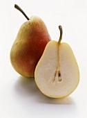Half and whole Santamaria pear