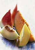 Slices of watermelon, honeydew, Charentais & pepino melons