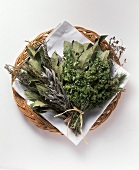 Assorted Dried Herbs in a Basket