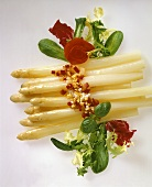 White asparagus with pepper & egg vinaigrette & salad leaves