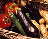 Peppers, Zucchini, Eggplant and Ginger in a Basket