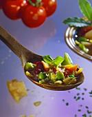 Hearty Minestrone Soup in Wooden Spoon