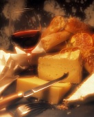 Assorted Cheese with Bread and Red Wine