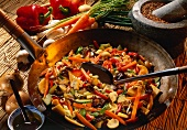 Sweet and sour Chinese vegetables in the wok