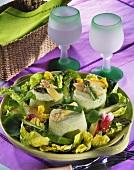 Bavarois printanier - asparagus cream jelly on lettuce