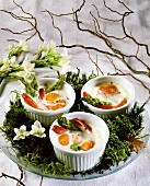 Coddled egg with asparagus & shrimps (oeufs cocotte)