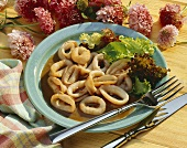 Fried cuttlefish rings with soya & garlic sauce & salad