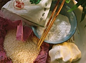 Sticky rice, sticky rice flour and sticky rice dough