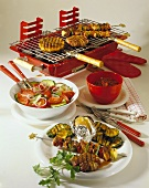 Peppered Vienna steak, kebabs and grilled vegetables; salad