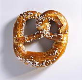 A salted pretzel (sprinkled with grains of salt)