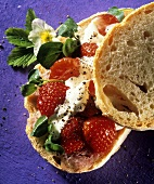 Strawberry, watercress and crème fraiche sandwich