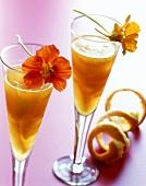 Sekt jelly with orange segments in Sekt glasses