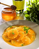 Orange salad with honey, olive oil and mint