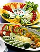 A platter of crudités and a platter of cold vegetables