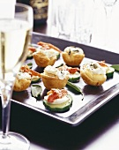 Cucumber & yabbi snacks & small biscuits with sheep's cheese