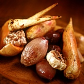 Roasted root vegetables (onions, parsnips, garlic etc)