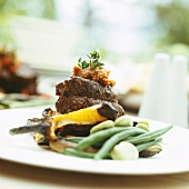 Beef fillet with lentil puree and beans