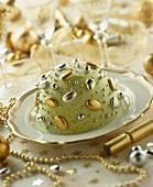 Cassata siciliana, decorated green, silver and gold