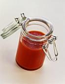 Tomato sauce in preserving jar