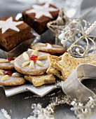 Christmas biscuits and brownies with silver decoration