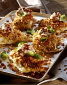 Cod with nut and breadcrumb crust and tomato mayonnaise