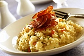 Risotto with salami on plate