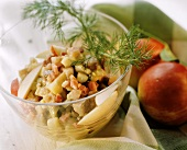 Herring salad with jacket potatoes, apples & bacon