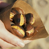 Hand holding paper bag with chestnuts